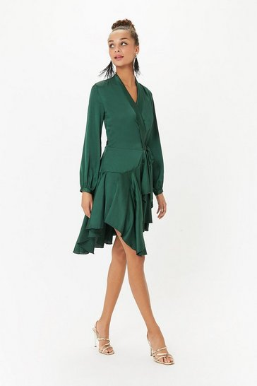 Green Satin Wrap Ruffle Dress