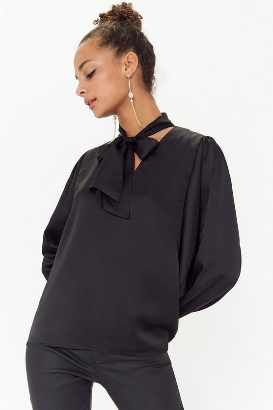 Black Satin Pussy Bow Tie Blouse