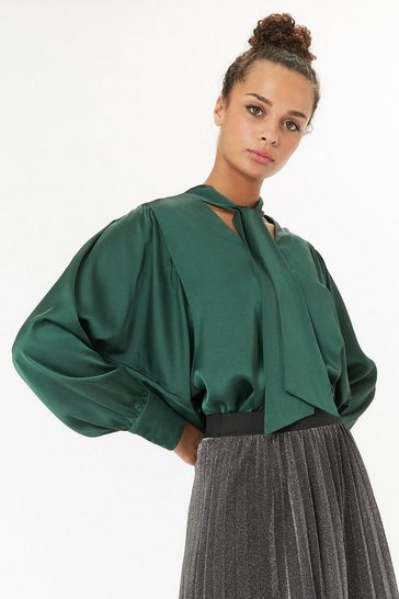 Green Satin Pussy Bow Tie Blouse