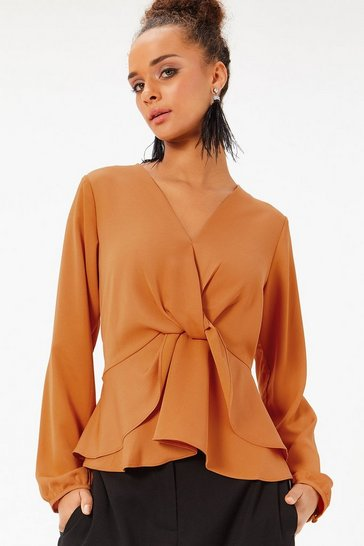 Orange Satin Twist Front Blouse