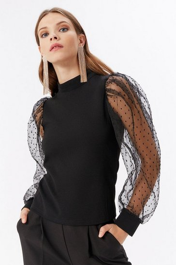 Black Organza Polka Dot Sleeve Top