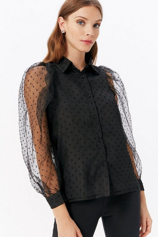Black Polka Mesh Balloon Sleeve Shirt