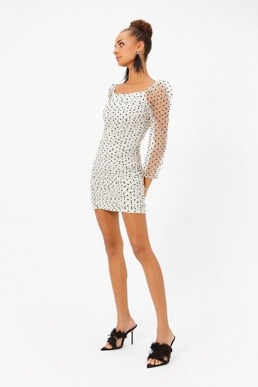 Cream Polka Dot Organza Ruched Mini Dress