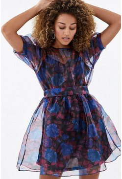 Blue Puff Sleeve Floral Organza Short Dress