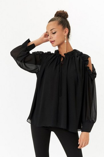 Black Ruffle Detail Tie Neck Blouse