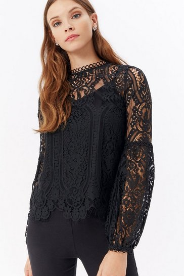 Womens Black Scallop Hem Lace Blouse