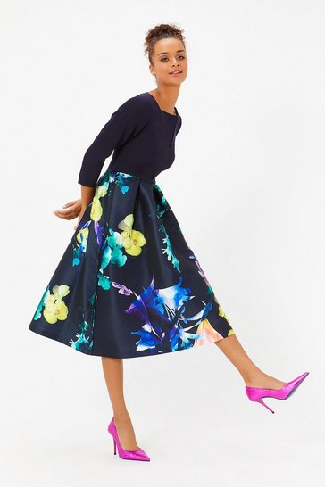 Multi Solid Bodice Full Midi Dress