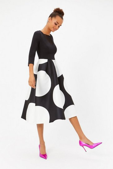 Blackwhite Solid Bodice Full Midi Dress