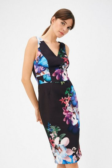 Womens Multi Floral Print Scuba Dress
