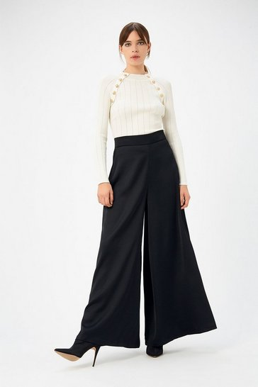 Womens Black Wide Leg Trouser