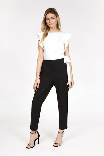 Blackwhite Ruffle Shoulder Jumpsuit
