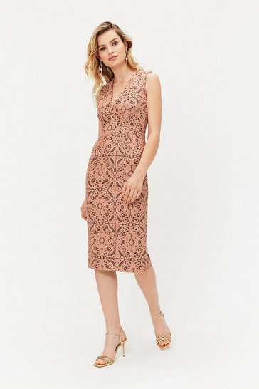 Nude V-Neck Shift Dress