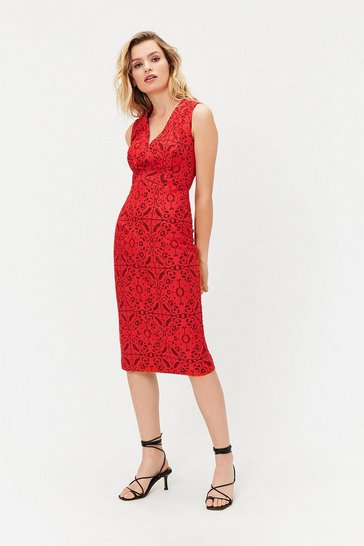Red V-Neck Shift Dress
