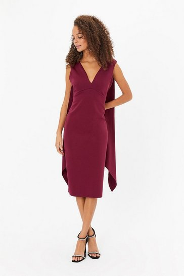 Plum Drape Back Midi Dress