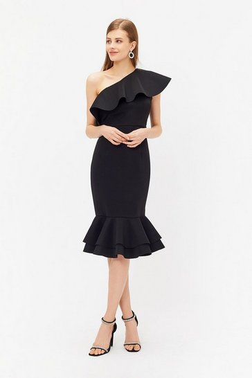 Black Ruffle One Shoulder Dress