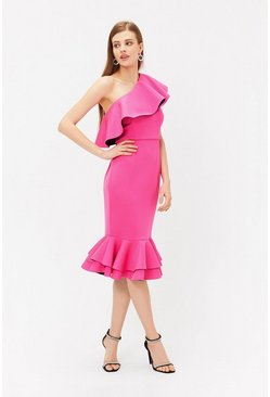 Pink Ruffle One Shoulder Dress