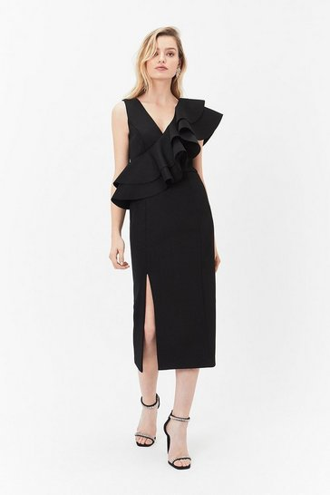 Black Ruffled Shoulder Midi Dress