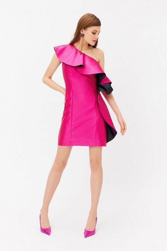 Pink One Shoulder Ruffle Front Mini Dress
