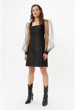Black Organza Spot Sleeve Dress