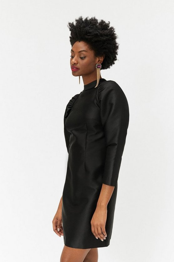 Black Puff Sleeve Mini Dress