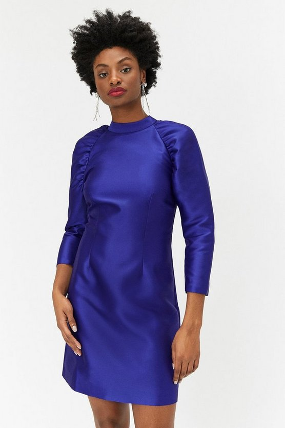 Cobalt Puff Sleeve Mini Dress