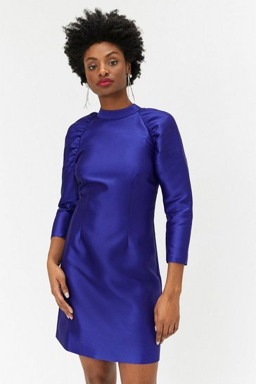 Womens Cobalt Puff Sleeve Mini Dress