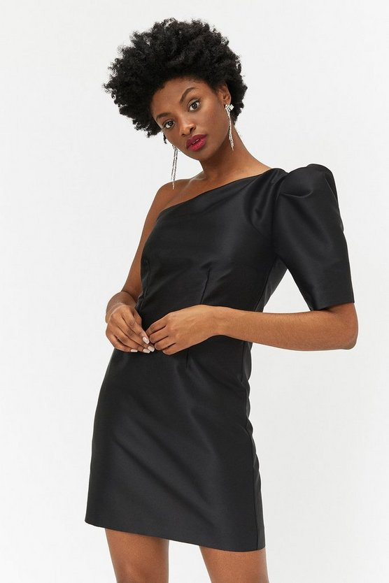 Black One Shoulder Puff Sleeve Dress