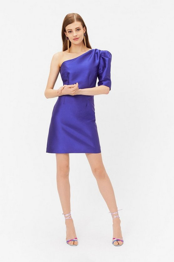Womens Cobalt One Shoulder Puff Sleeve Dress