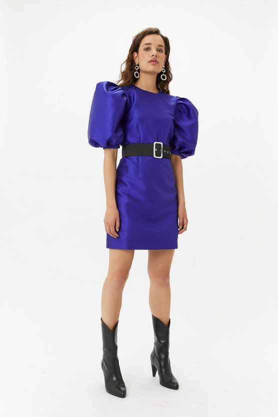 Womens Cobalt Puff Sleeve Belted Dress