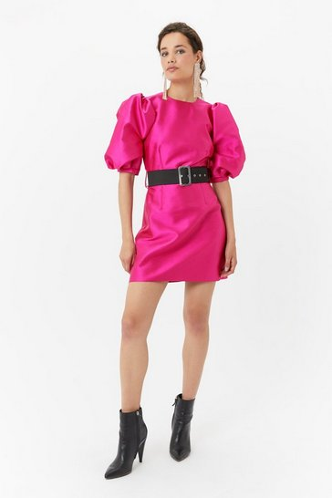 Pink Puff Sleeve Belted Dress