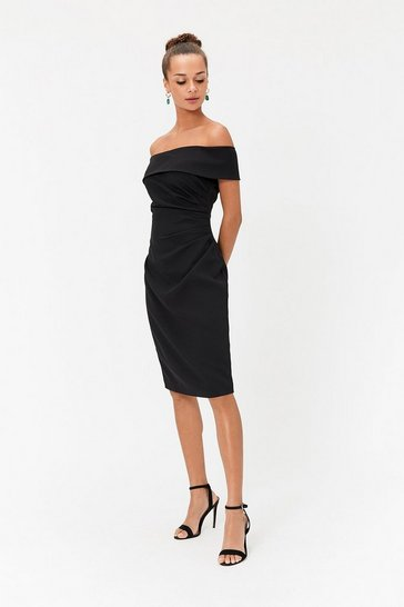 Womens Black Bandeau Shift Dress