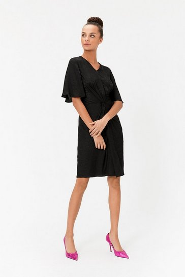 Womens Black V-Neck Knot Detail Dress