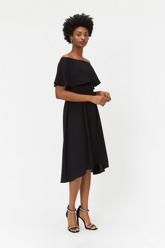 Black Soft Bardot Midi Dress