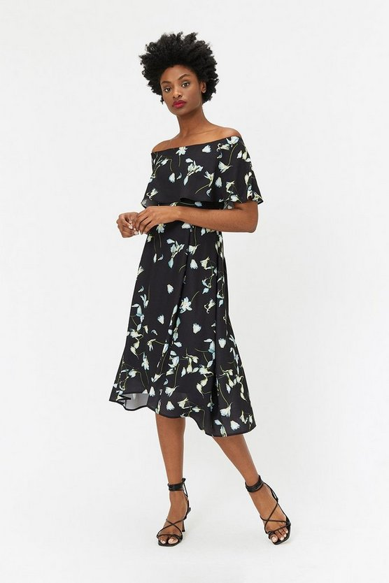 Multi Soft Bardot Midi Dress