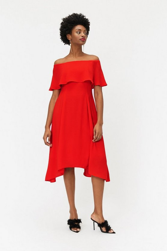 Red Soft Bardot Midi Dress