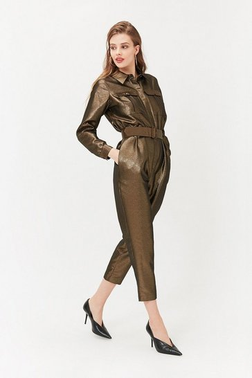 Womens Gold Boiler Suit Jumpsuit