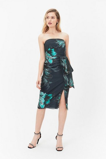 Multi Printed Bandeau Dress With Layered Detail
