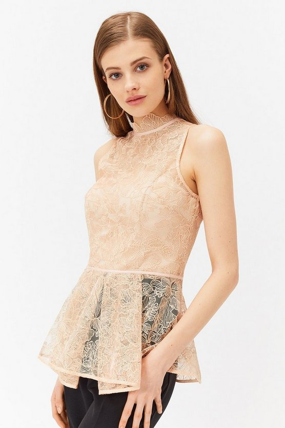 Blush Sleeveless High Neck Peplum Hem Lace Top