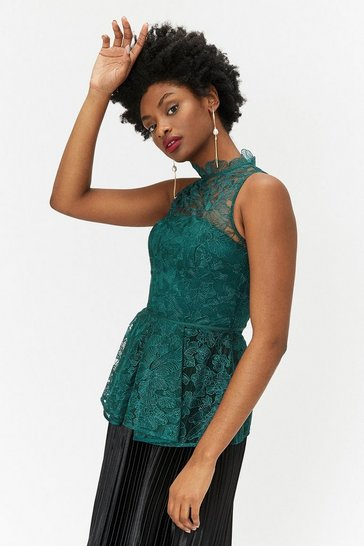 Forest High Neck Lace Top