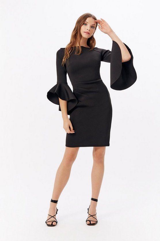 Womens Black Bardot Scuba Flare Sleeve Dress