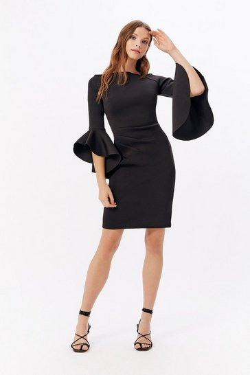 Black Bardot Scuba Flare Sleeve Dress