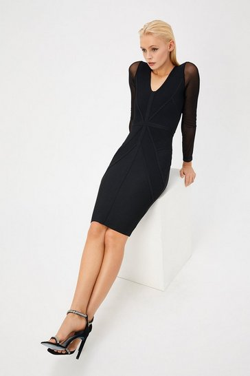 Womens Black V Neck Long Sleeve Bandage Dress