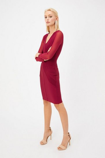 Wine V Neck Long Sleeve Bandage Dress