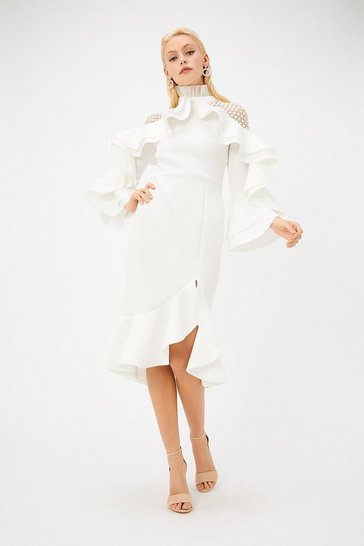 White Scuba High Neck Lace Insert Ruffle Detail Dress