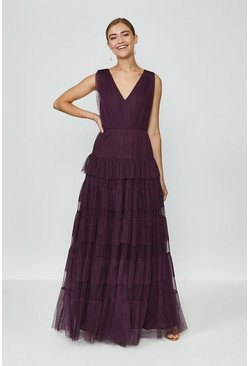 Berry Tulle Tiered Maxi Dress