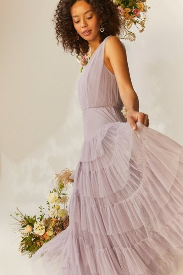 Lilac Tulle Tiered Maxi Dress