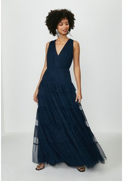Navy Tulle Tiered Maxi Dress