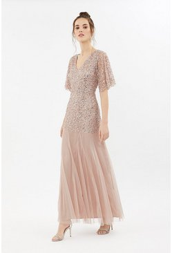Blush Sequin Angel Sleeve Maxi Dress