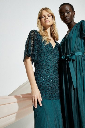 Forest Sequin Angel Sleeve Maxi Dress