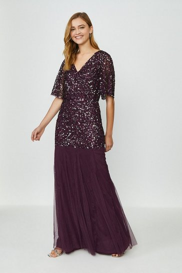 Merlot Sequin Angel Sleeve Maxi Dress